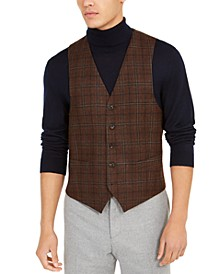 Men's Classic-Fit Brown Plaid Vest