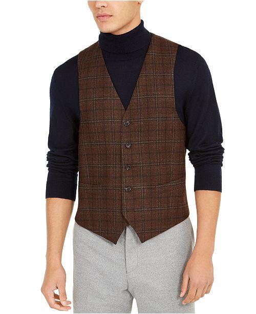 Lauren Ralph Lauren Men's Classic-Fit Brown Plaid Vest