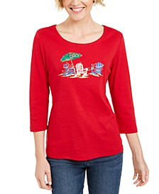 Embellished 3/4-Sleeve Top, Created For Macy's