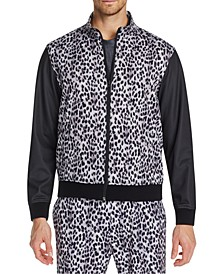 Men's Slim-Fit Stretch Leopard Track Jacket
