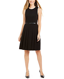 Anne Klein Sleeveless Belted Fit & Flare Dress