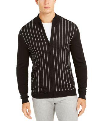 Alfani Mens Blue Horizontal Striped Cardigan Sweater