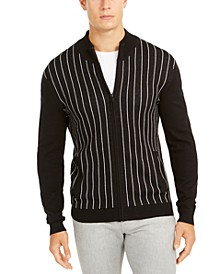 Men's Classic-Fit Vertical Stripe Full-Zip Cardigan, Created For Macy's