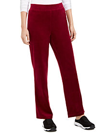 Karen Scott Petite Velour Pull-On Pants, Created For Macy's