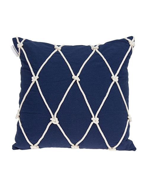 Parkland Collection Oceana Nautical Blue Pillow Cover with Polyester Insert