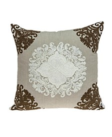 Pilar Traditional Beige Pillow Cover With Down Insert