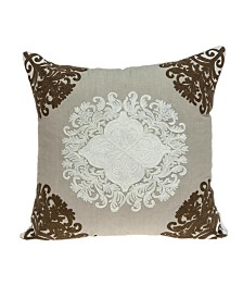 Parkland Collection Pilar Traditional Beige Pillow Cover With Down Insert