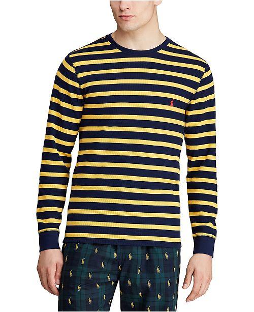 Polo Ralph Lauren Men's Rugby Stripe Waffle Crewneck Pajama Shirt