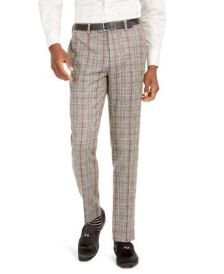 Orange Men's Slim-Fit Brown Plaid Flannel Suit Pants