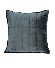 Anajar Transitional Charcoal Solid Quilted Pillow Cover with Polyester Insert