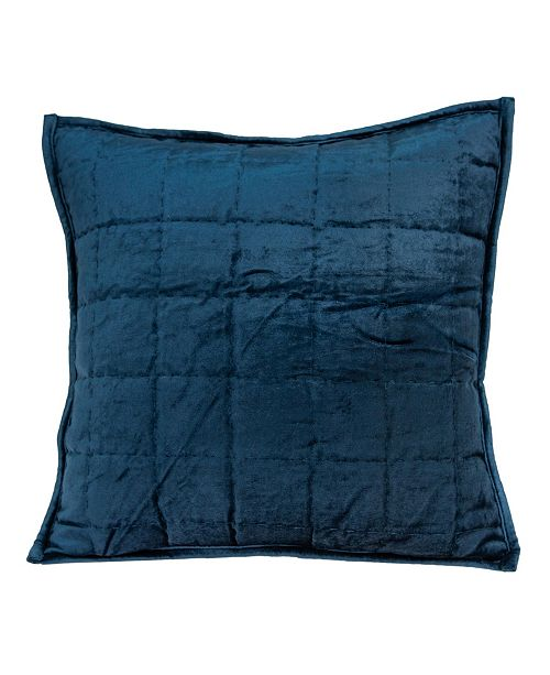 Parkland Collection Balam Transitional Navy Blue Solid Quilted Pillow Cover With Down Insert