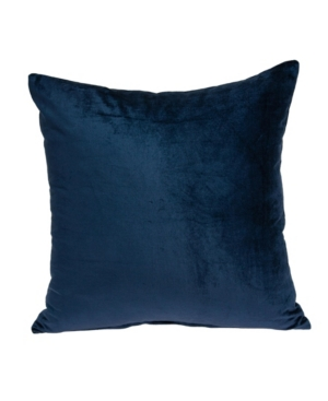 Parkland Collection Pillows JUGO TRANSITIONAL NAVY BLUE SOLID PILLOW COVER WITH POLYESTER INSERT