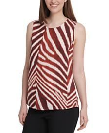DKNY Zebra-Print Sleeveless Top