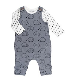 Baby Boy and Girl 2-Piece Geo Stripe Bodysuit and Hedgehog Print Overall Outfit Set
