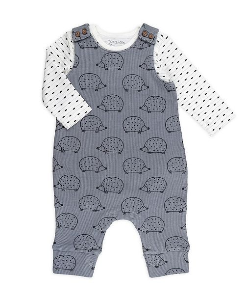 Mac & Moon Baby Boy and Girl 2-Piece Geo Stripe Bodysuit and Hedgehog Print Overall Outfit Set
