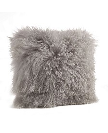"Wool Mongolian Lamb Fur Decorative Pillow, 20"" x 20"""
