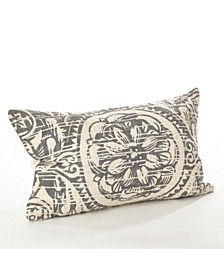 "Distressed Floral Design Cotton Throw Pillow, 14"" x 23"""