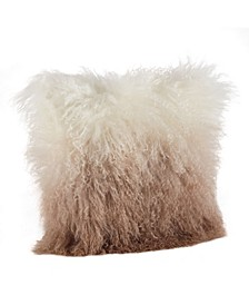 "Mongolian Lamb Fur Ombre Throw Pillow, 16"" x 16"""