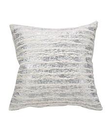 "Faux Fur with Brushed Metallic Foil Print Throw Pillow, 18"" x 18"""