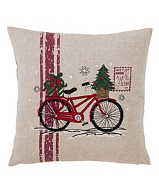 "Holiday Bicycle Design Throw Pillow, 18"" x 18"""