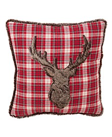 "Faux Fur Reindeer Plaid Print Holiday Throw Pillow, 18"" x 18"""