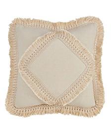 """Cotton Fringe Lace Applique Throw Pillow, 18"""" x 18"""""""