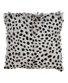 """Goat Fur Throw Pillow with Dalmatian Print, 18"""" x 18"""""""