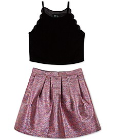 Big Girls 2-Pc. Velvet Top & Metallic Skirt Set
