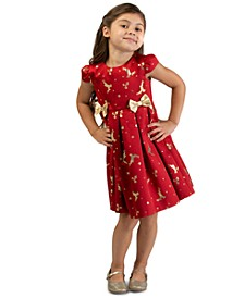 Toddler Girls Metallic Reindeer-Print Dress