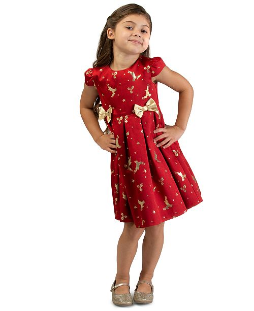 Bonnie Jean Toddler Girls Metallic Reindeer-Print Dress