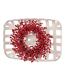 Wooden Tobacco Basket with Berry Wreath