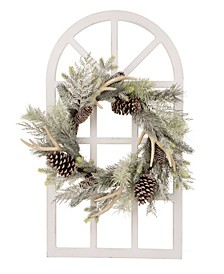 Wooden Window Frame with Flocked Pinecone Antler Wreath