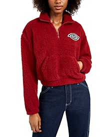 Junior's Cotton Plush Quarter Zip Pullover Sweatshirt