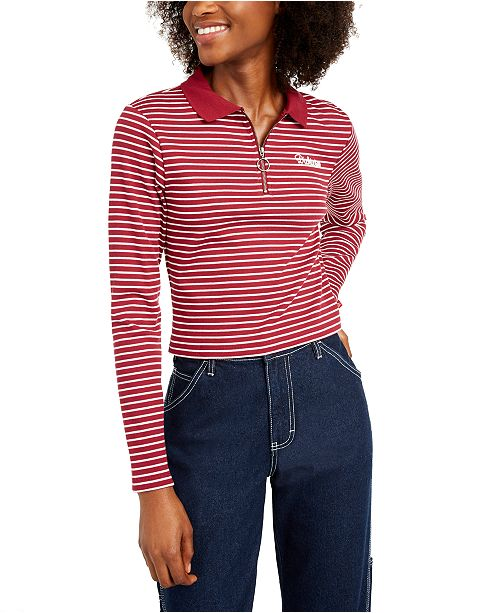 Dickies Striped Cropped Polo Top