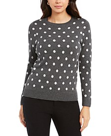 Petite Polka Dot Sweater, Created for Macy's