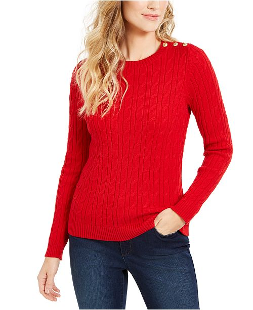 Charter Club Cable-Knit Button-Trim Sweater, Created for Macy's