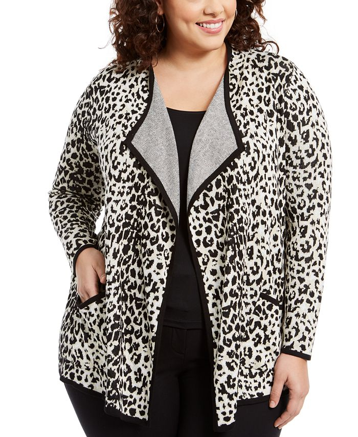 Belldini - Plus Size Drape-Front Animal-Print Cardigan