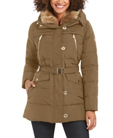 Michael Michael Kors Belted Faux-Fur Collar Down Hooded Down Coat