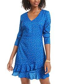 Juniors' Printed Ruffle-Hem Dress, Created for Macy's