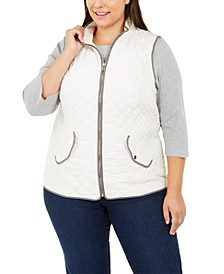 Plus Size Quilted Vest, Created For Macy's