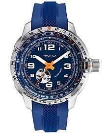 Nautica Men's Mission Bay Automatic Blue, Orange Silicone Strap Watch Box Set 46mm