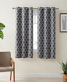 Obscura Bunbury Lattice Print Blackout Grommet Curtain Panels - 37 W x 63 L - Set of 2
