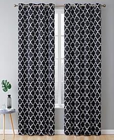 Obscura Bunbury Lattice Print Blackout Grommet Curtain Panels - 52 W x 63 L - Set of 2