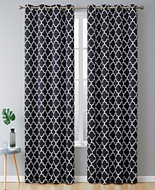 Obscura by Bunbury Lattice Print Blackout Grommet Curtain Panels - 52 W x 84 L - Set of 2