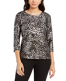 Petite Printed Gel Dot 3/4-Sleeve Top, Created For Macy's