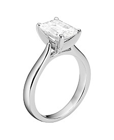 Moissanite Emerald Solitaire Ring 2-1/2 ct. t.w. Diamond Equivalent in 14k White Gold