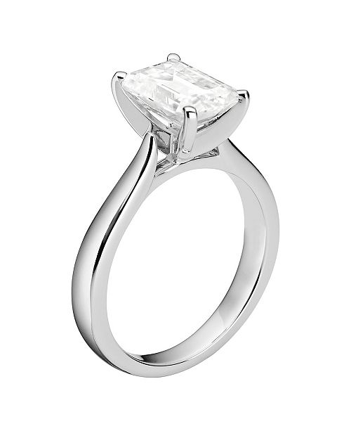 Charles & Colvard Moissanite Emerald Solitaire Ring 2-1/2 ct. t.w. Diamond Equivalent in 14k White Gold