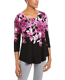 Petite 3/4-Sleeve Printed Top, Created For Macy's