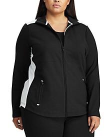 Plus Size Color-Blocked Cotton-Blend Jacket
