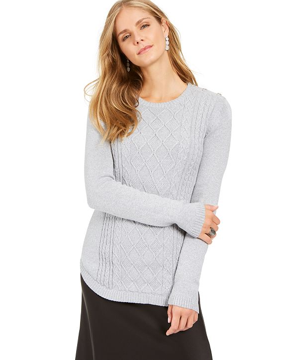Charter Club Metallic Crewneck Cable-Knit Sweater, Created for Macy's